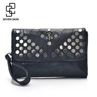 SEVEN SKIN Brand Leather Women S Envelope Clutch Bag With Rivet Crossbody Bags For Women Handbag