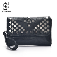 SEVEN SKIN Brand Leather Women S Envelope Clutch Bag With Rivet Crossbody Bags For Women Handbag