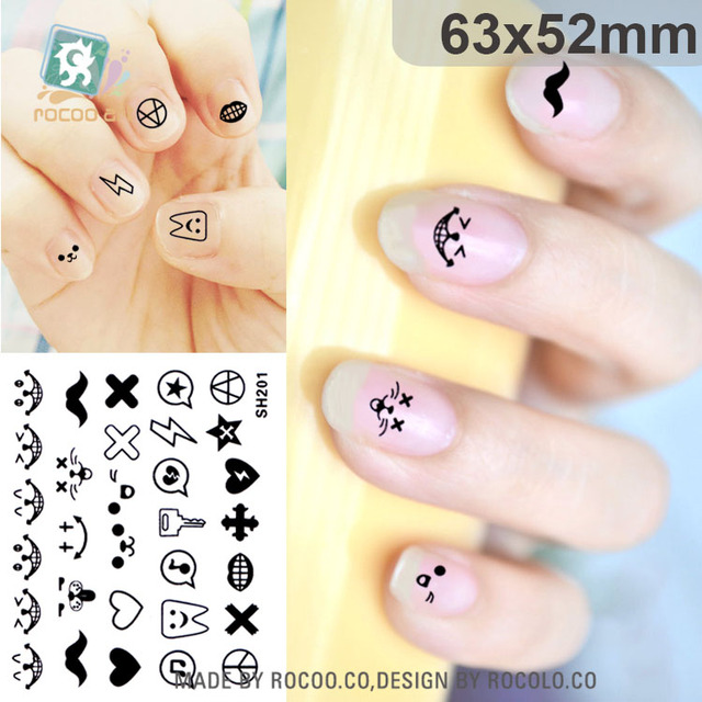Sh201 Nail Art Stickers Self Adhesive Foils Tips Mini Design Decals