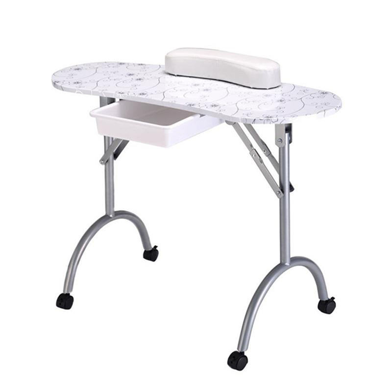 RUIMIO Portable Manicure Nail Table Station Desk Spa Beauty Salon Equipment (White Flowers) D30 цена