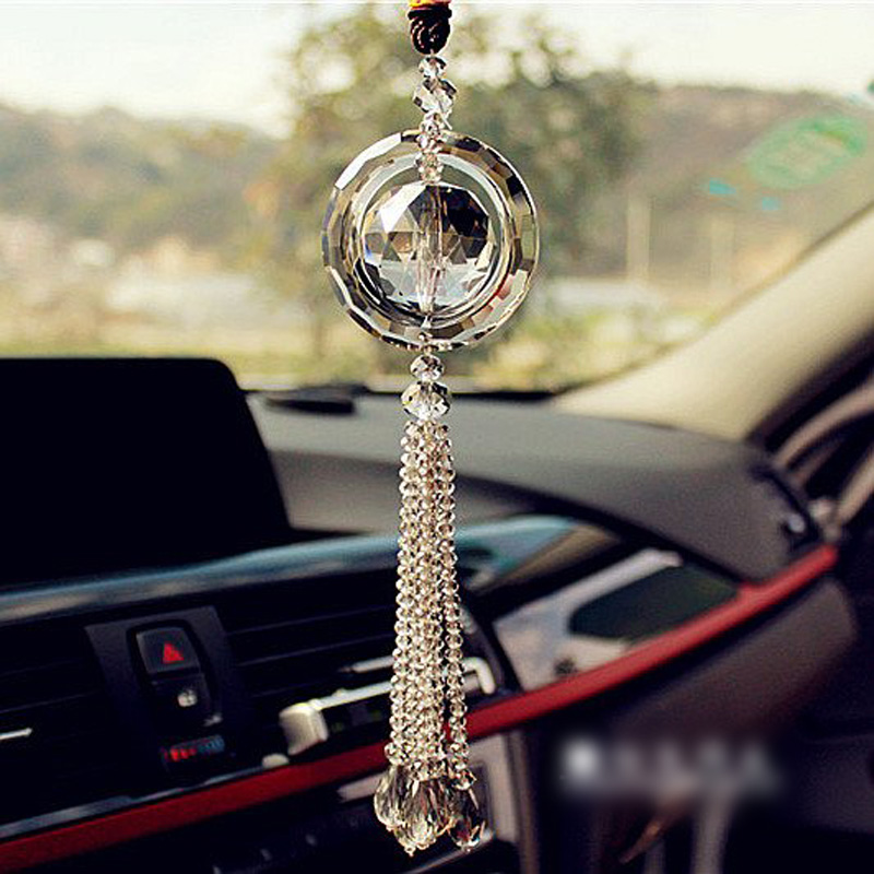 Hot car rear view mirror pendant glass car hanging for Automobile decoration accessories