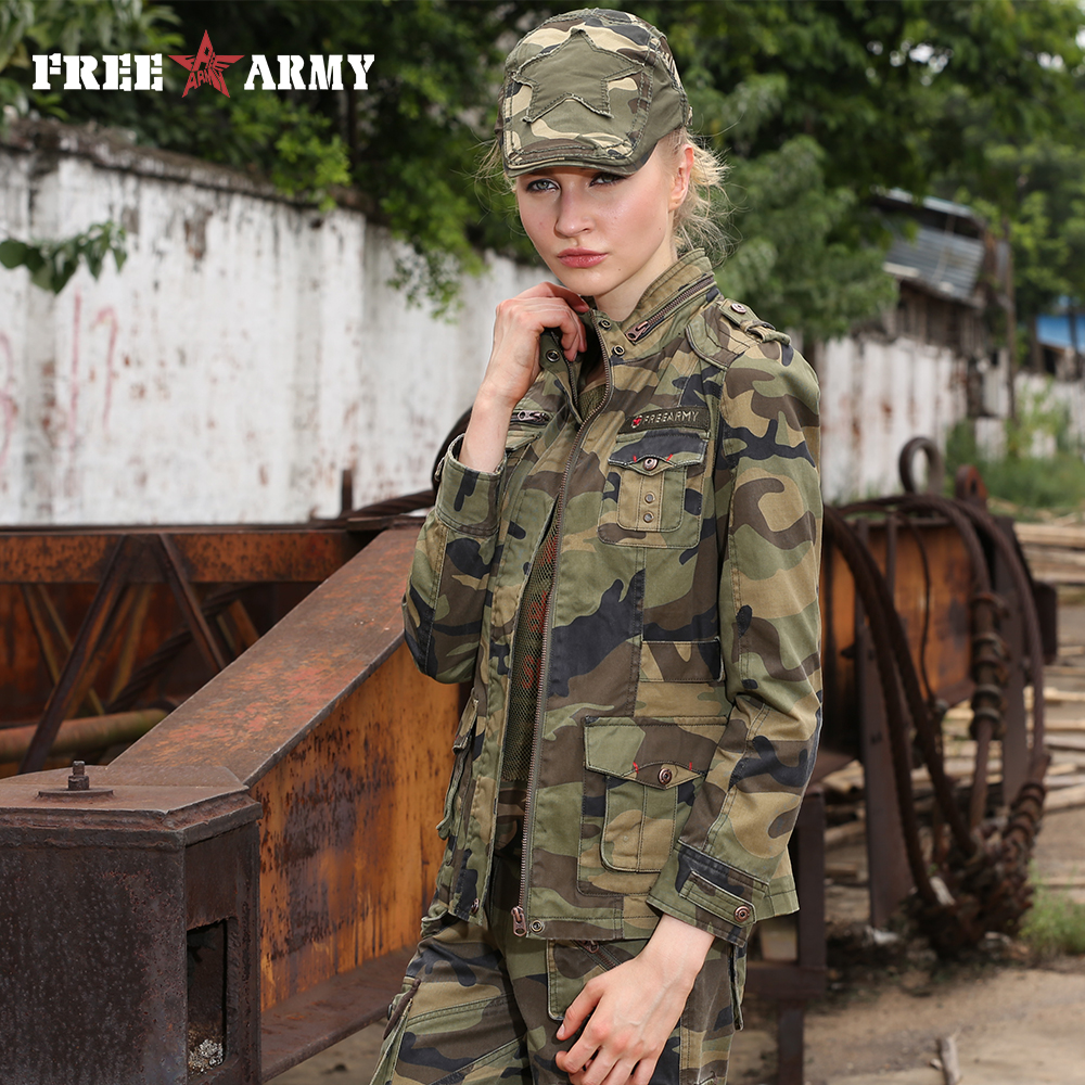 New Fashion Military Camouflage Womens Jacket Coat Autumn Stand Collar Jakker og strøk Glidelås Slim Brand Jacket Women Gs-8253B