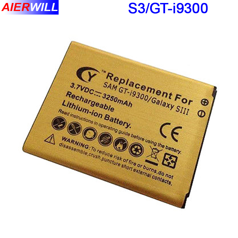 i9300 Battery for Samsung for Galaxy S3 GT-i9300 I9308 L710 i747 i535 R530 T999 Gold Batterie Bateria Accumulator 3250mAh