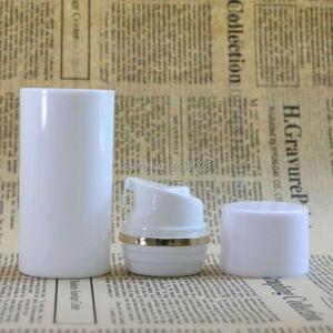 Image 4 - 50ml 100ml boné Branco Garrafa De Plástico Sem Ar Garrafas de Bomba Airless Com linha Dourada Vácuo Recipientes Loção cosmética 10 pçs/lote