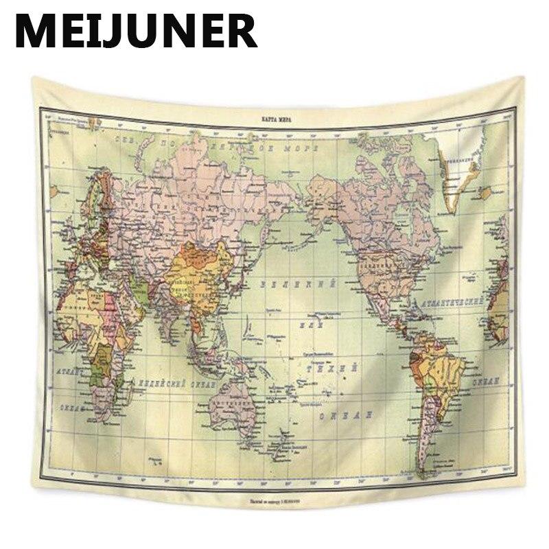 Meijuner World Map Tapestry Cactus Watercolor Headboard Wall Decor on
