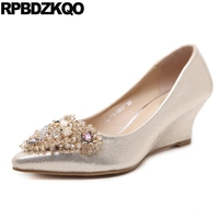 Size 33 Medium Pointed Toe Glitter High Heels Shoes Wedge Diamond Wedding Pumps Crystal Rhinestone Golden Silver Metal Spring