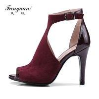 Fanyuan Summer Shoes Women T Strap Buckle Ultra High Heels Velvet Ankle Strappy Sandals Sexy Ladies Evening Wedding Stilettos