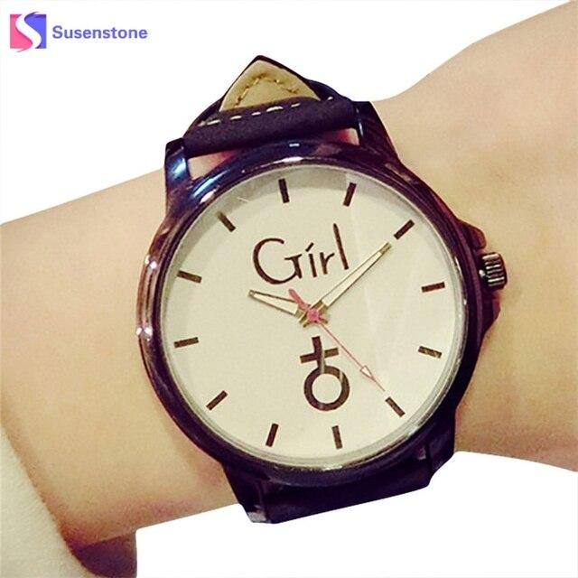 Lovers' Quartz Wrist Watch Fashion Stylish Print Men Women Analog Leather Band S