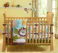 โปรโมชั่น! 7ชิ้นสิงโตเด็กชุดเครื่องนอนผ้าฝ้ายนุ่มเปลนอนชุดสำหรับเด็กตั้งชุด(กันชน+ผ้านวม+เตียง+กระโปรงเตียง)