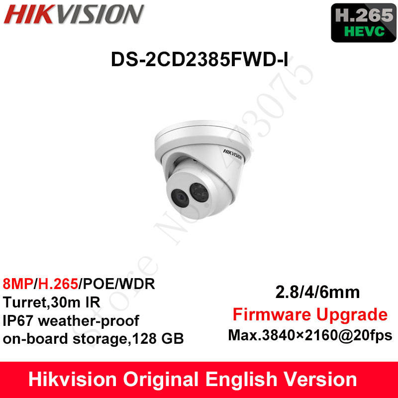 Hikvision Original English Security Camera DS-2CD2385FWD-I 8MP H.265+Mini Turret CCTV Camera WDR IP Camera POE on-board Storage зимняя шина nokian hakkapeliitta 8 suv 265 50 r20 111t