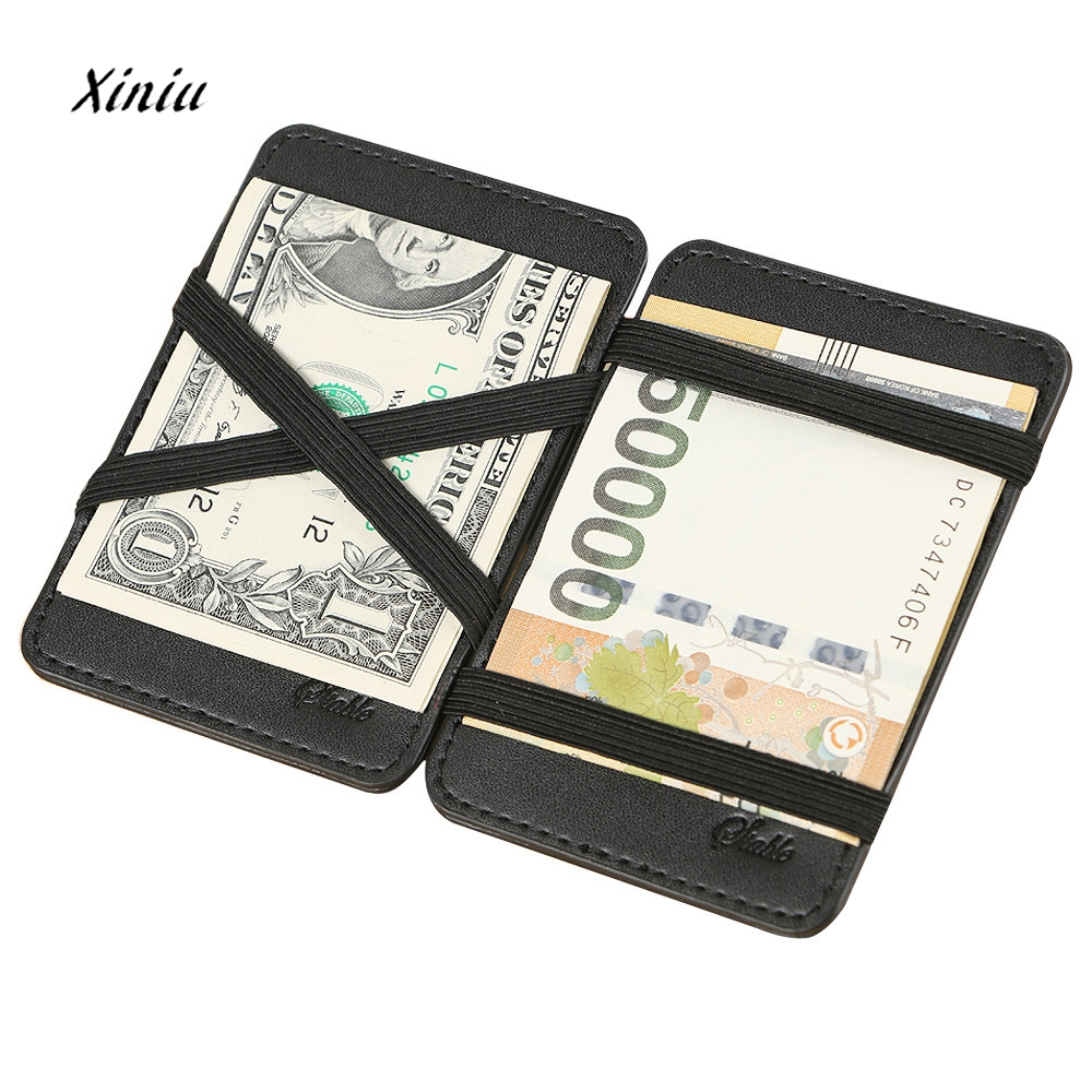 New Fashion Men Women Leather WalletMini Neutral Magic Bifold Leather Wallet Card Holder Wallet Purse Money Bag Carteira