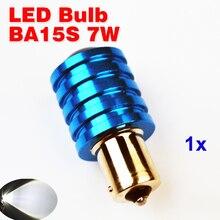 Flytop 1 Piece BA15S Q5 7W with LENS LED Bulb S25 P21W 1156 Car Lights Auto Lamp 12V XENON White