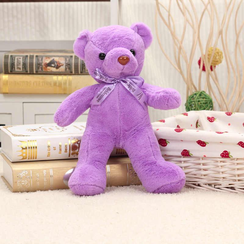 Nova chegada sobre 35 cm gravata borboleta urso de pelúcia macia boneca de brinquedo de pelúcia urso roxo, presente de Natal w1952