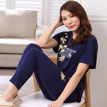 Pajamas For Women Summer Pajamas Trousers Short-Sleeve Cotton Sleep Ladies Pyjamas Women lounge plus size 3XL