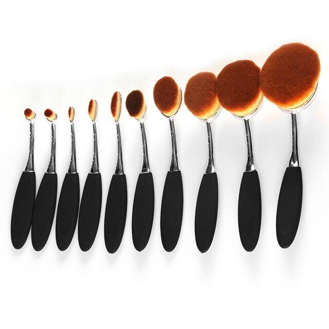 Nueva Llegada 10 unids/set O 5 unids/set Cepillo de Dientes Forma Ovalada Cepillo De Maquillaje Multiusos Powder Foundation Brush Kits con caja Superior