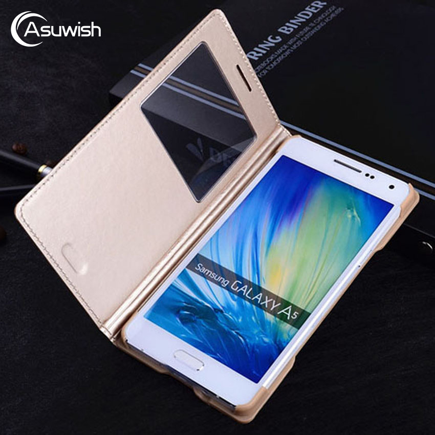 Asuwish Smart Flip Cover Leather Phone Case For Samsung Galaxy A5 2015 A 5 7 A7 A52015 SM A500 A500F A700 A700F SM-A500F View(China)
