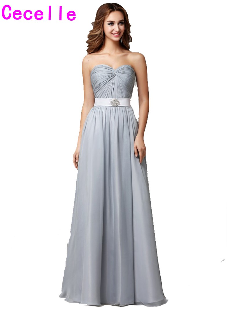 2017 Real Long Silver Gray Beach Bridesmaid Dresses Sweetheart Pleats Chiffon Summer Formal Country Wedding Bridesmaid Robes