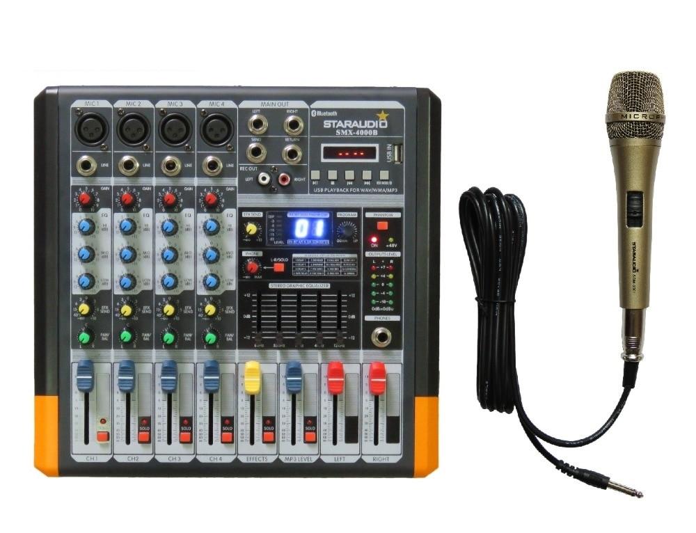 STARAUDIO Pro DJ 4CH 2000W Amplifier Power Mixer MP3 Bluetooth USB SD 16 DSP & Pro Wired Handheld Dynamic Microphone SMX 4000B