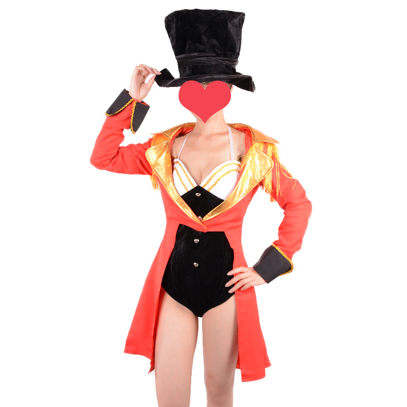 ladies ringmaster costume adult sexy naughty circus ringleader halloween costumes for women fancy dress red jacket - Naughty Halloween
