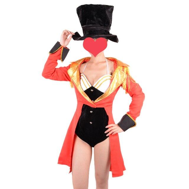 ladies ringmaster costume adult sexy naughty circus ringleader halloween costumes for women fancy dress red jacket - Halloween Naughty Costumes