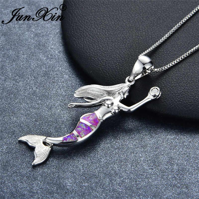 JUNXIN Mystic Fire โอปอล Fairy Mermaid จี้สร้อยคอผู้หญิง 925 เงินแท้สีม่วงสีขาวสีเขียวโอปอลสร้อยคอ