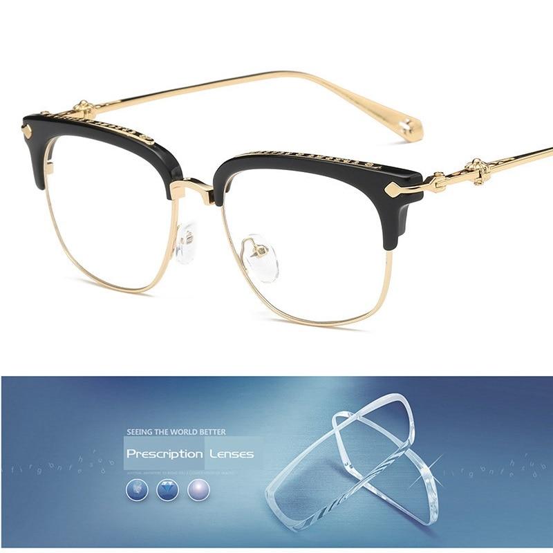 Cubojue Men's Glasses Women Brand Gold Square Spectacles for Men Myopia Diopter 1.56 1.61 1.67 Anti Blue Light Photochromic UV