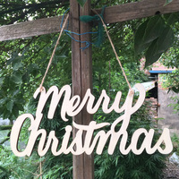 Merry Christmas English Alphabetree Wooden Drop Ornament Decoration Supplies Laser Carving Wood 36 5cm 18cm 0