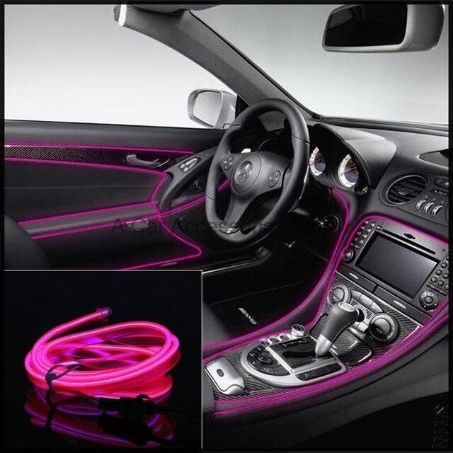 Beautiful 2M DIY LED EL Wire Rope Decoration 12V Auto Car Interior Tube Neon Light  Line 10