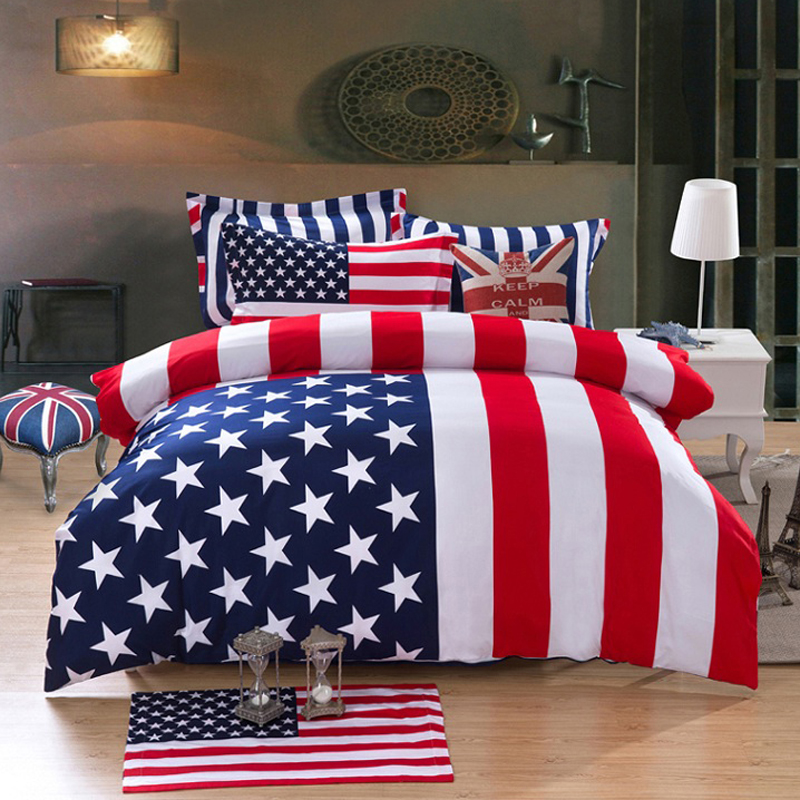 100 Cotton Fabric British And American Flag Bedding Set Union Jack Queen King Duvet Cover Sets 4pcs In From Home Garden
