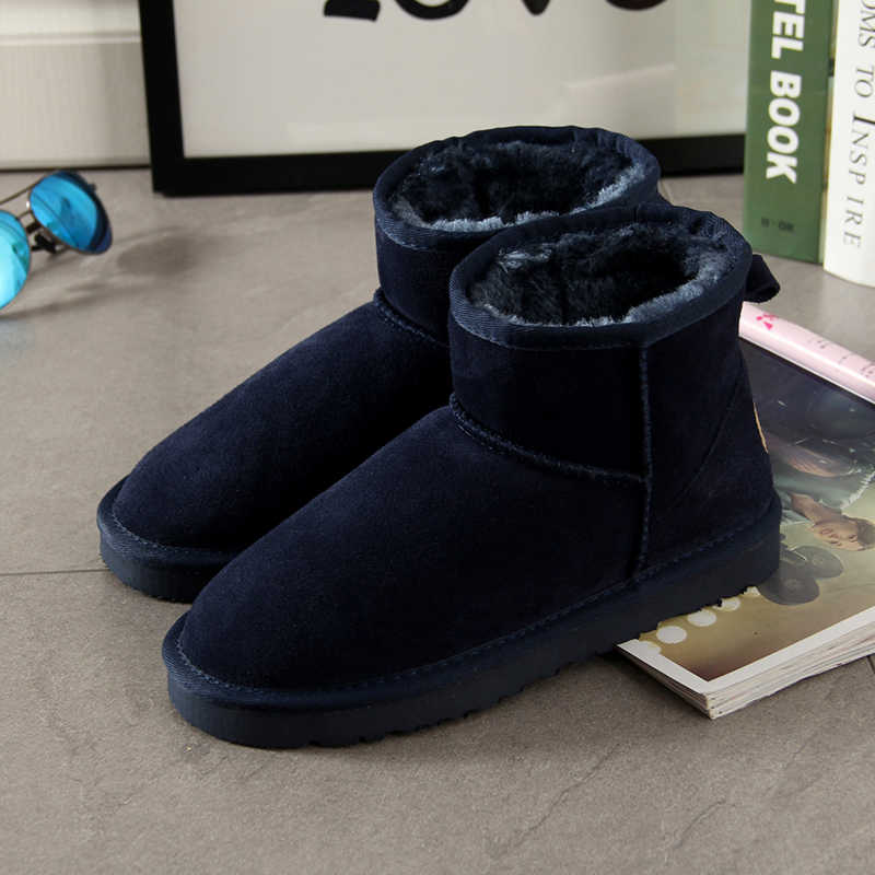 Begocool snow boots for women 100% genuine Cow suede leather australia ankle boots warm winter shoes botas navy high quality