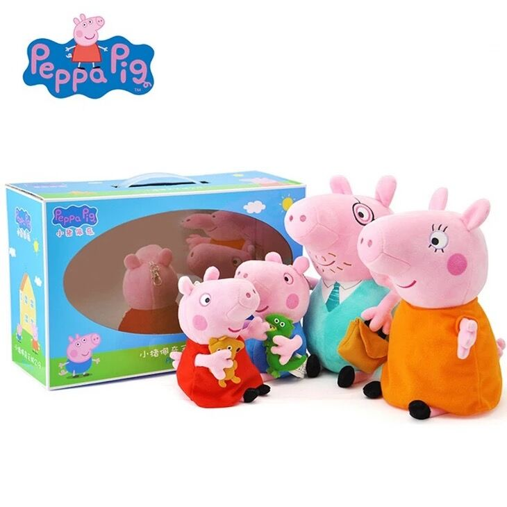 Genuine Peppa Pig Big Size Gift Package Brinquedos 4pcs/set Pig Family Wholesale Stuffed Animals & Plush Toys doll birthday gift 1
