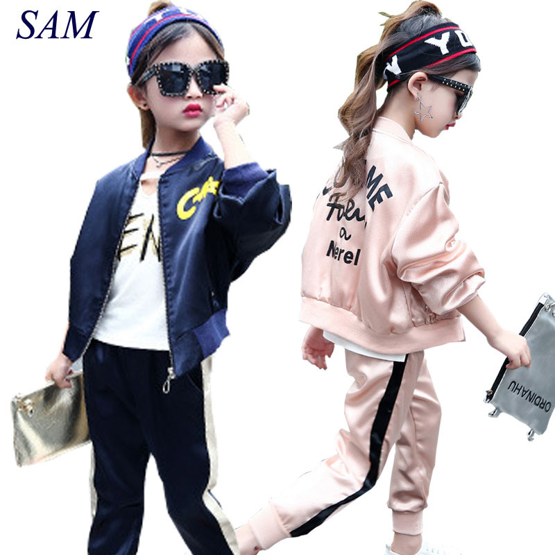 Big Girls Suit 2018 Spring and Autumn Bat Sleeve Letters Embroidery Zipper Baseball Jacket + Sports Casual Pants Kids Clothing