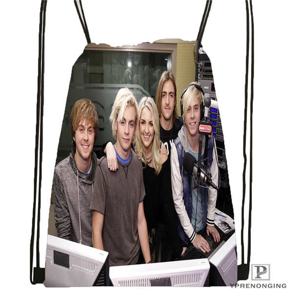 Custom Ross_Lynch@01- Drawstring Backpack Bag Cute Daypack Kids Satchel (Black Back) 31x40cm#180611-01-34