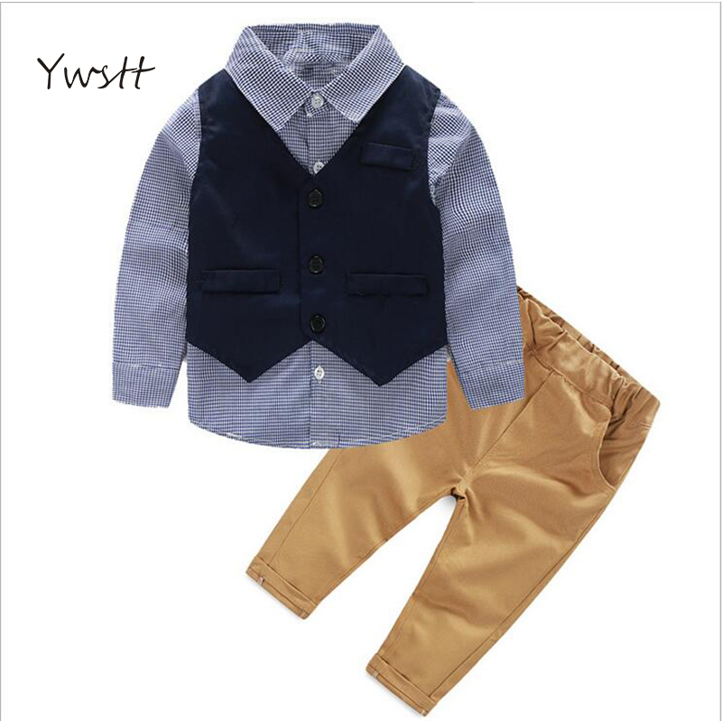 YWSTT Children's autumn new trade children's dress children suit the American and European boy long sleeve shirt the three-piece the european union and democracy the impact on international trade