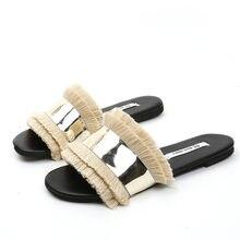 f3f067e03a0 Wanita Datar Sandal Payet Wanita Sepatu Jumbai Tlatform Sandal Selip-ON  Rendah Musim Panas Sepatu