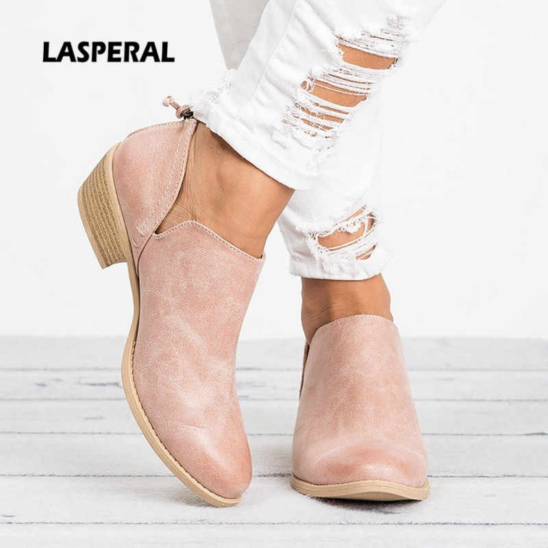 LASPERAL Autumn Ankle Women Boots Square Heel Slip On Women Female High Heels Single Shoes Pointed Toe Casual Ladies Fashion