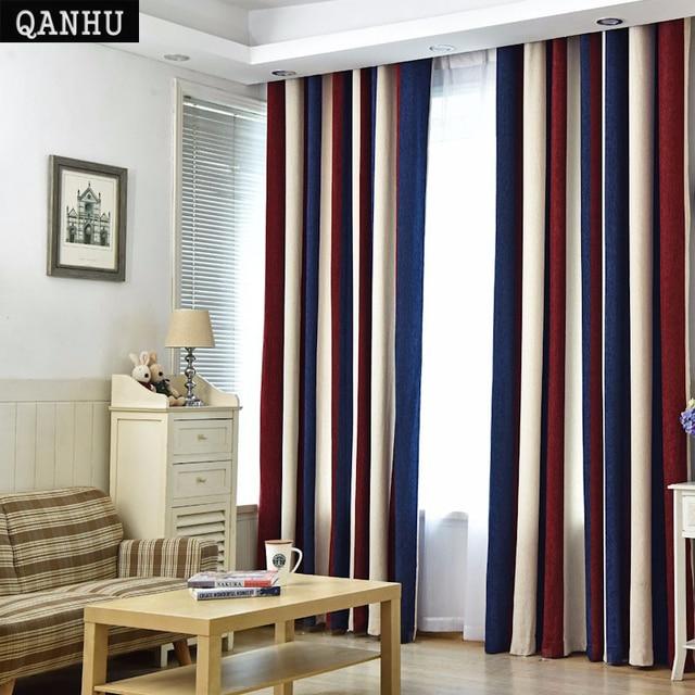 QANHU Europese stijl Kleur Gordijnen Woonkamer Verduisterende Bars Jacquard Slaapkamer Tule Gordijnen Sets in de Kwekerij Draperie