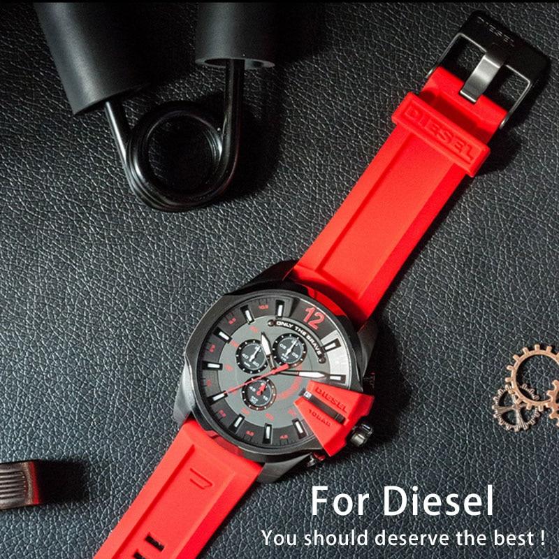 Quality Silicone Rubber Watchband For DIESEL DZ7257 DZ7334 DZMC0001 DZT2006 4388 Strap For Men 24 26mm Silicone strap Bracelets diesel diesel dz7257