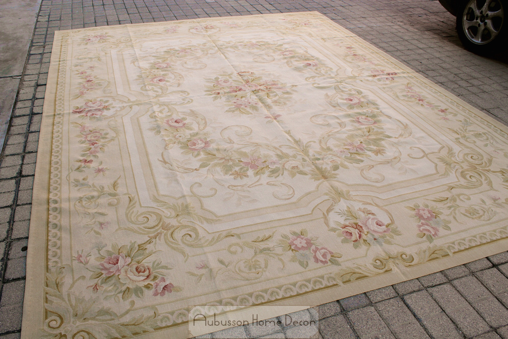 9 X12 Country French Cottage Aubusson Rug Pastel Beige Cream