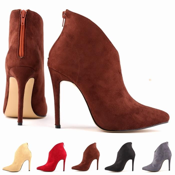FREE SHIPPING WOMENS FAUX VELVET HIGH STILETTO THICK HEEL PLATFORM ANKLE BOOTS SHOES US5-10 LADIES 769-1VE denim zipper hollow worn stiletto womens sandals