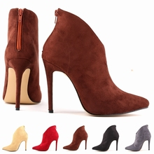 FREE SHIPPING WOMENS FAUX VELVET HIGH STILETTO THICK HEEL PLATFORM ANKLE BOOTS SHOES US5-10 LADIES 769-1VE
