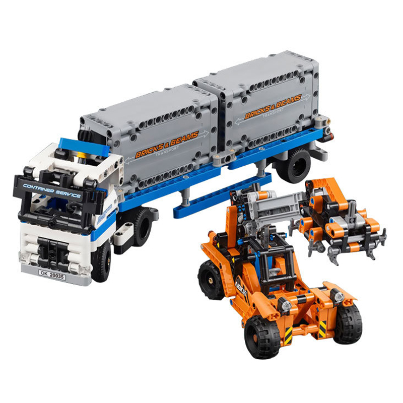 model 20035 Terminals Toy for Children building blocks bricks Technic Container trucks and loaders boy gift compatible 42062 oenux wrestlemania wrestling weightlifting gym model the wrestler athlete figure building blocks bricks toy for boy s gift