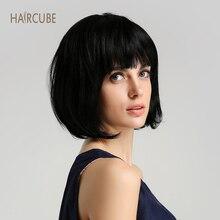 Haircube 8 дюймов синтетический парик 50% человеческие волосы натуральный черный боб парики с аккуратной челкой короткие прямые волосы парики для женщин