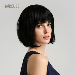 Haircube 8 Inch Synthetic Wig 50% Human Hair Natural Black Bob Wigs with Neat Bangs Short Straight Hair Wigs For Women