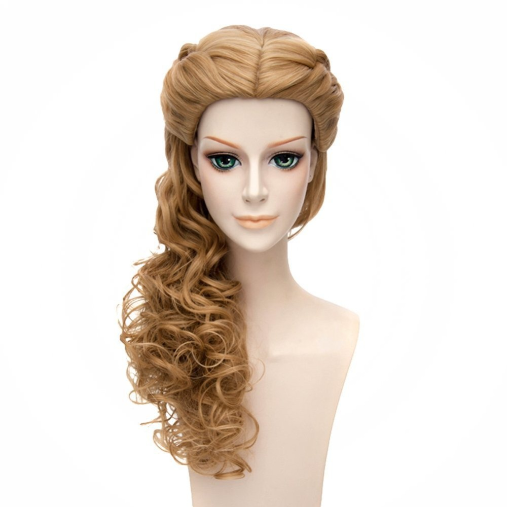 Women's Cinderella Live Action Movie Cosplay Wigs Braided Long Curly Prom Hair Wig (Brown) on ...