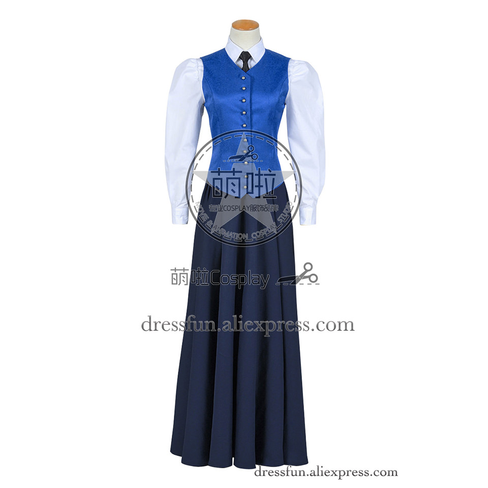 Who Is The Doctor Cosplay Series 7 The Crimson Horror Jenny Flint Costume Blue Vest Dress Popular Party Halloween