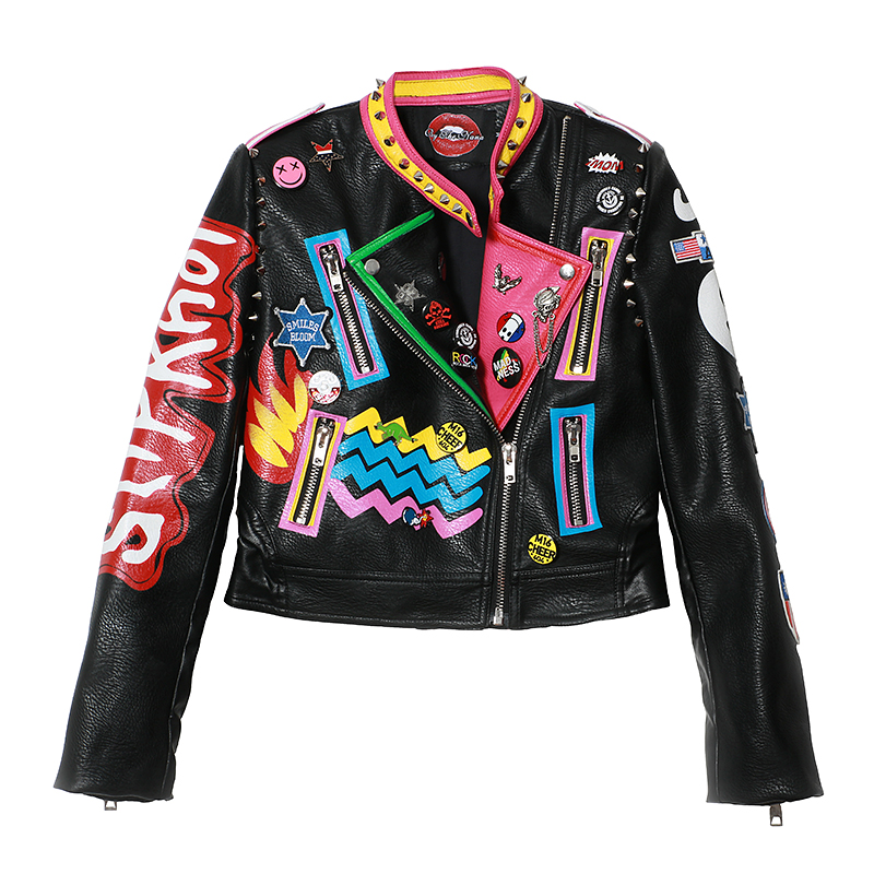 2019 winter new fashion female short paragraph Slim pu leathe Letter graffiti hit color rivet   leather   jacket