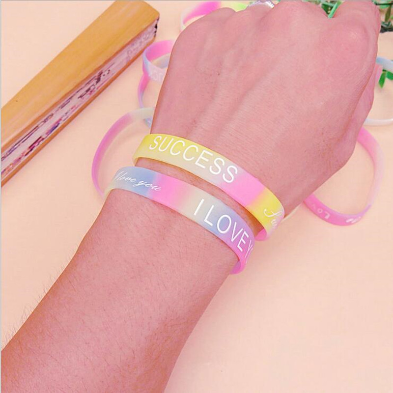 Candy Color Noctilucous Bracelet Luminous English Word Arm Wristband Kids Children Adults Birthday Party Gift  Halloween