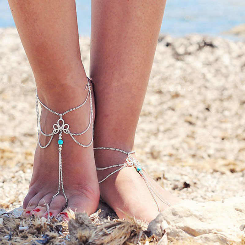 1PCS Women Beach Barefoot Sandal Foot Tassel Jewelry Anklet Multilayer Blue Stone Anklet Boho Vintage Foot jewelry C490