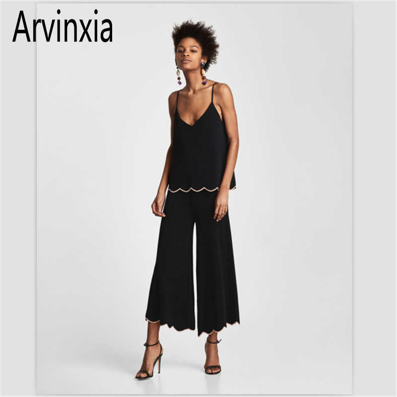 Arvinxia ZA Sexy Solid Knitted Women Cami Summer Casual Ruffles Sleeveless Tanks Breathable Spaghetti Strap Intimates Lady Camis